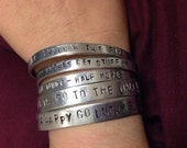 "custom / personalised hand stamped metal cuff 1/4"" 6mm"