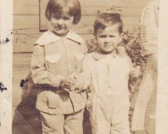 Vintage Black & White Snapshot Photograph: Boy Girl Outside 1920's 55A