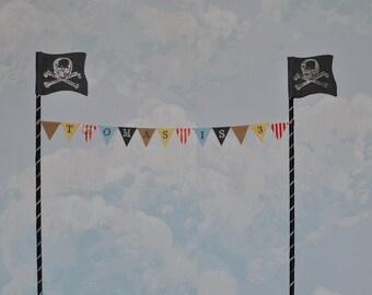 Pirate personalised cake top bunting