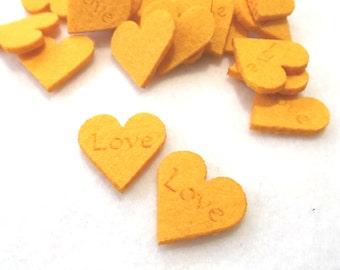 "10 hearts ""Love"",felt, 3x3 cm, * COLOUR CHOICE * (F04-0001BXXX)"