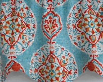 Window treatment valance. window valance, teal valance, contempory valance, orange, window curtains, decorative pillows