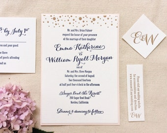 The Gladiolus Suite - Letterpress Wedding Invitation - Navy, Blush and Gold dots, Confetti, Pink, Modern, Calligraphy, Simple, Blue, Script