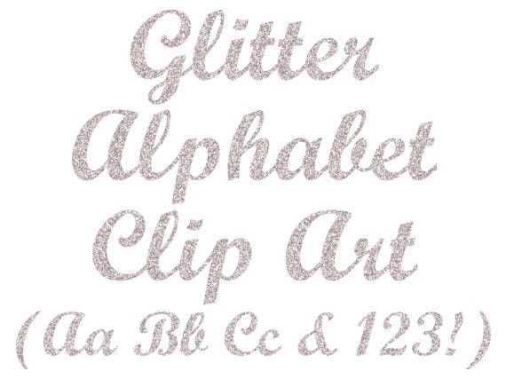 Glitter alfabeto argento Clipart Clipart lettere Glitter