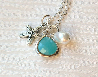 Mint Green Jewelry Set Of 2, Bridesmaid 2 Necklaces, Beach Wedding, Starfish Bridesmaid Gift, Best Friend 2 Necklaces, Best Friend Jewelry