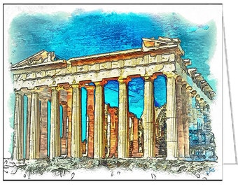Parthenon - Set of 6 Blank Notecards and Envelopes