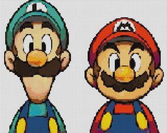 Mario and Luigi Cross Stitch Pattern
