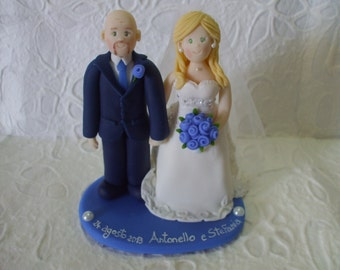 Custom made bride and groom wedding cake topper