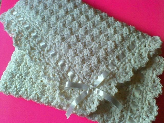 Puffy Crochet Baby Blanket Pattern : Crochet Baby Blanket White Puff Stitch CribBaptism