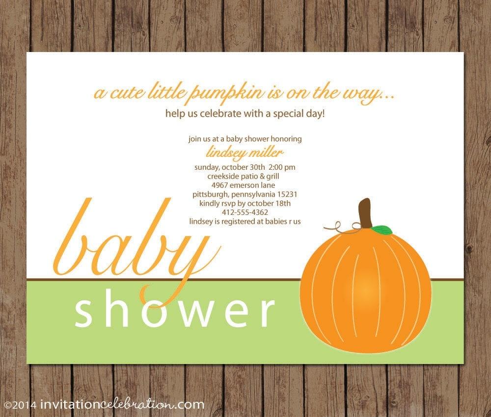 Cute Little Pumpkin Baby Shower Invitation PRINTABLE Fall