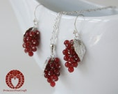 Tiny Grapes Earrings and Necklace Set -   Jewelry Set with Red Ruby