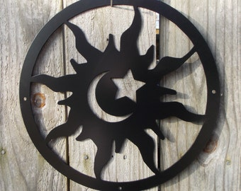 "12"" Sun Moon & Stars Metal Wall Hanging (Free Shipping)"