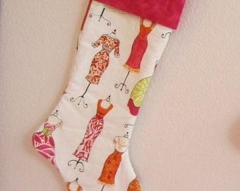 Personalized Christmas Stocking - Pink Orange Green White Dresses - Rhinestone or fabric personalization