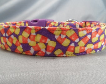 Halloween Dog Collar Candy Corn on Purple Fabric