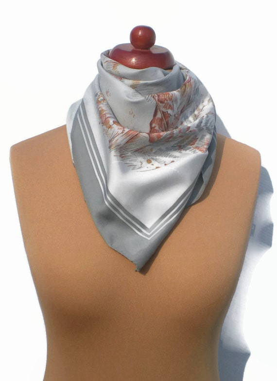 Vintage Scarf .  Hunting Scene Print Scarf . Grey and Brown Square . Retro Foulard . Vintage Square Scarf . Hunting Themed .
