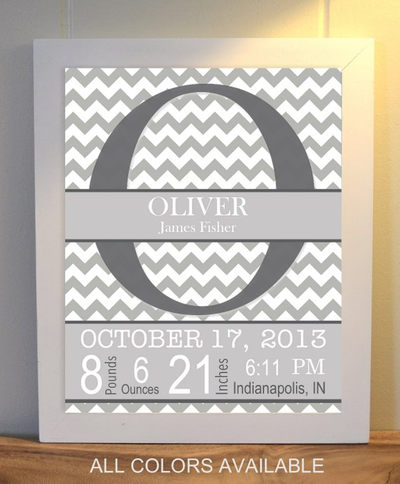 Name In Lights Wall Decor : Baby room wall art, monogram, nursery art, birth statistics, chevron wall art, custom nursery ...