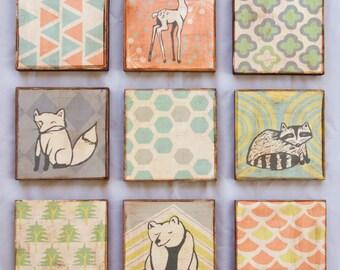 """SALE!!! Art block prints, Nursery art, woodland animal blocks - set of nine 6"""" x 6"""""""