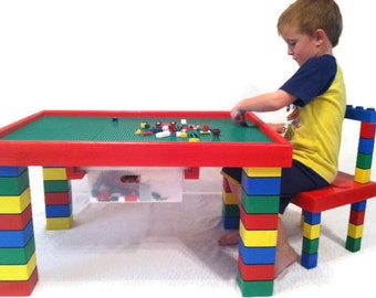 Children's Table and Chair - Lego Table - Kids Table - Playroom Furniture - Kids Chair - Primary Colors - Nontoxic Paint