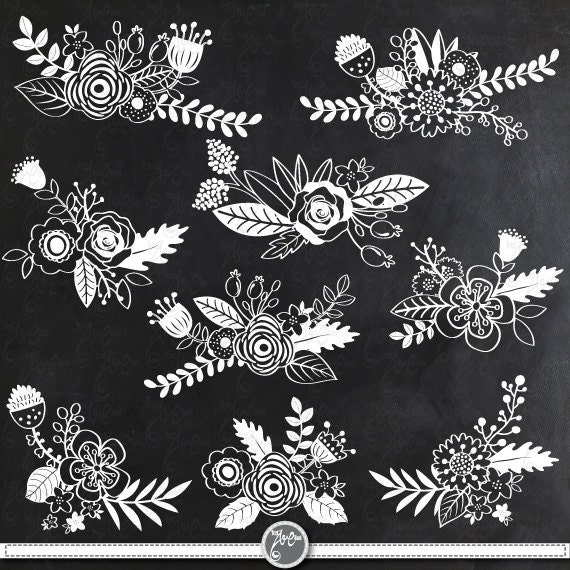 """Flower Wall Decor Reversible Mosaic With Chalkboard: Chalkboard Wedding Clipart """"CHALKBOARD FLOWER"""" Clip Art"""