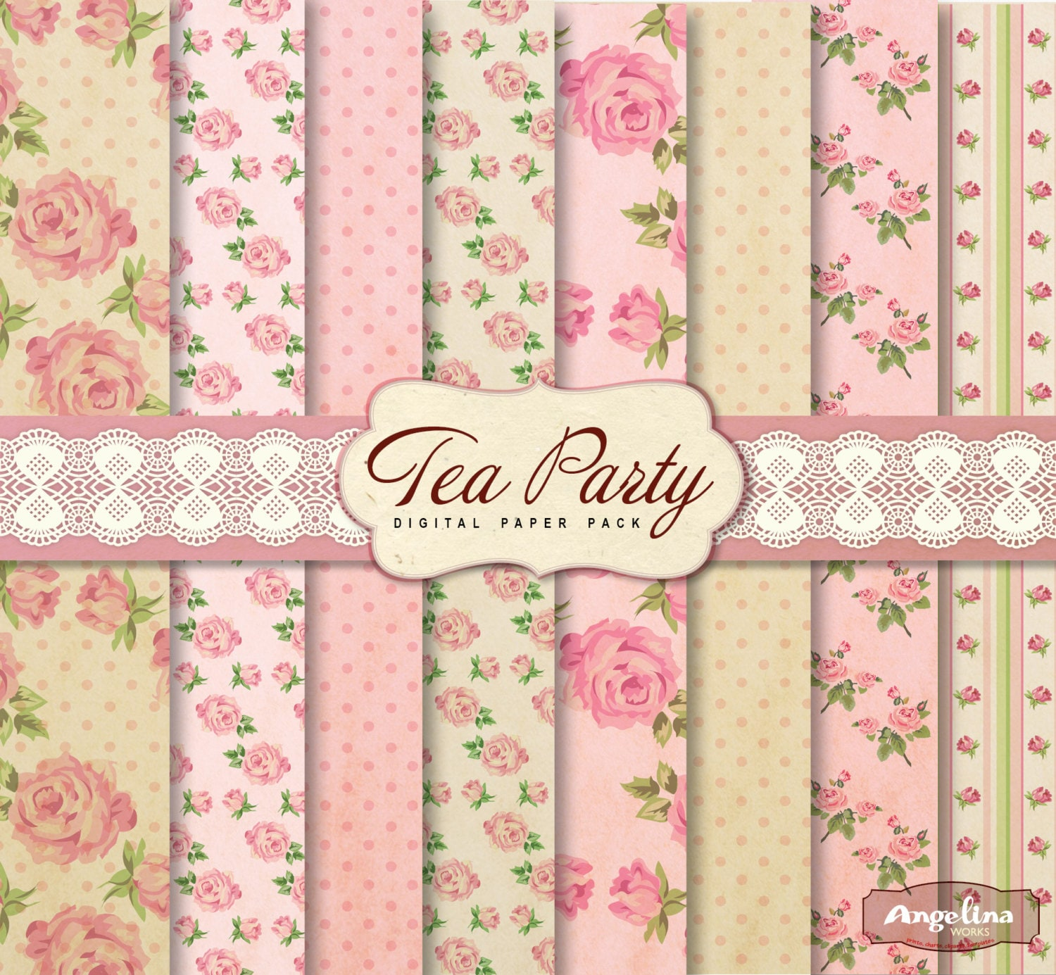 8 Vintage Shabby Chic Tea Party Digital Scrapbook Papers. For