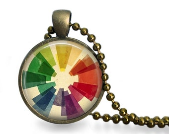 Vintage color wheel pendant necklace colorful geometric jewelry artist gift