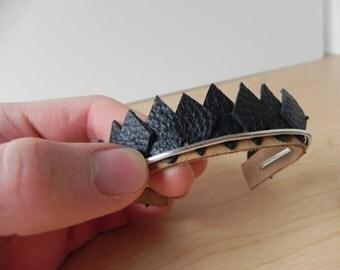 Dragon Scale Bracelet, Leather Jewelry, Suede Bracelet