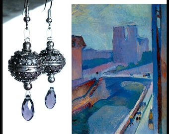 MATISSE - Violet crystal and silver plated earrings, Bali style