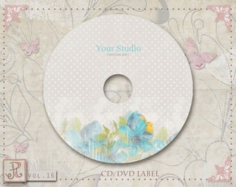 CD/DVD Label Template-Blue and Yellow Flowers-damask-vol.16