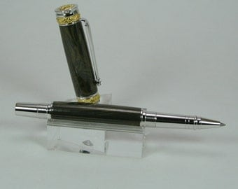 Hand Turned Pen: Jr Majestic in Rhodium and 22kt gold with Gunsmoke/Gold M3