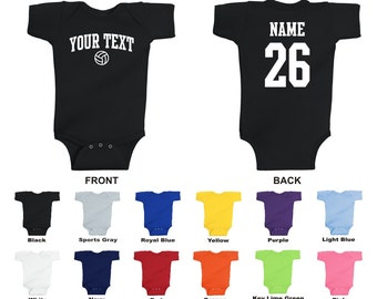 Personalized custom your text and number volleyball baby one piece romper, you choose the text for the front and back, ARCHED TEXT