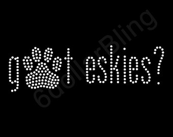 Rhinestone Iron On Transfer got eskies? Crystal Bling American Eskimo Dog Design for shirts and more