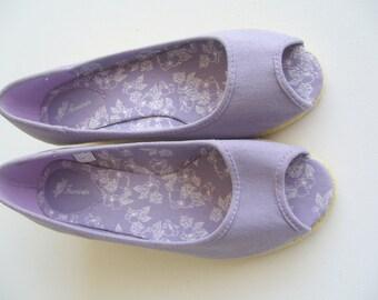 Linen platfrom sandals/summer sandals linen/lila summer sandals vintage