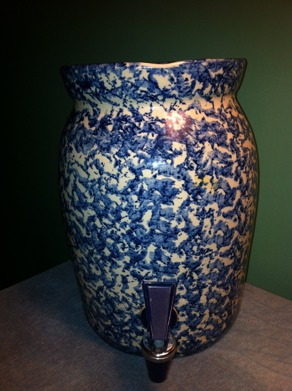 Marshall Pottery Of Texas Beautiful Spongeware 2 Gallon Drink