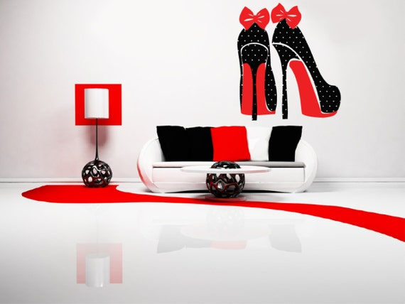 High Heel Shoes with Polka Dots and Bows Decal by Signs4Half