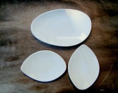 Appetizer  Organic Ceramic Plates  , Three White plates , Serving ceramic Dish