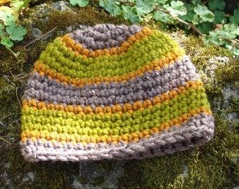 Handmade Crochet Striped Chunky Wool Blend Beanie Hat in Orange, Greens, and Barley