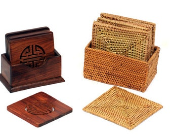 Rattan and Wooden Coasters with Boxes