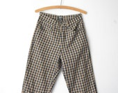 vintage high waist checked tartan plaid brown black pants trousers 80s // sz S-M