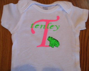 Alphabet with Name and Frog Baby Onesie