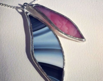 Handcrafted Stained Glass Necklace in Black, White and Pink