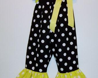 Minnie Mouse Cream Black Polka Dots Romper