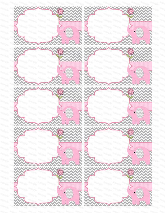 Blank Insert Girl Baby Shower Invitation Thank You Notes Diaper Raffle  Elephant Baby Shower Girl Baby Shower (50 1) Instant Download