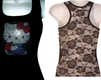 Rhinestone HELLO KITTY Lace Back Tank Top Shirt Black Size:S, To XL Free Shipping available in white color sport