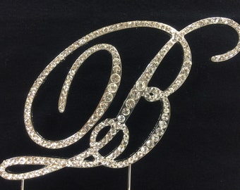 New Rhinestone Crystal Monogram Letter  B Wedding Cake Topper