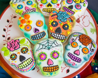 One dozen custom Day of the Dead cookies