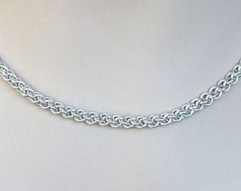 Sterling Silver Chainmaille Necklace Handmade Jewelry Jens Pind Silver Chain JP3 chainmail necklace chain mail jewelry real silver wire