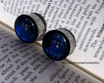 Dr Who Tardis Glitter plugs. FOR PAIR.