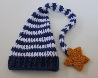 Stocking Cap with Star - Crochet Baby Hat with Long Tail, Elf Hat, Blue and White Stripes
