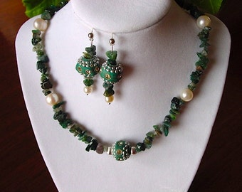 Moss Agate and Pearl Necklace with Ornate Inlayed Leather Focal and Earring Set