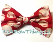 Red Solid Baseball Printed Fabric Bow