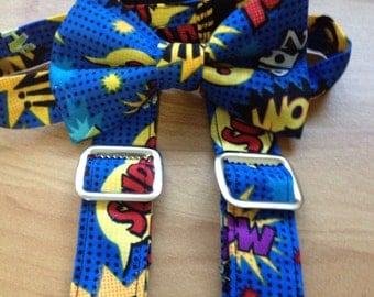 Comic book suspenders and tie.  Size 3m-10yrs